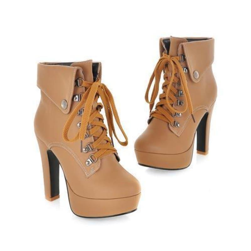 Lace-up Ankle High Heels Motorcycle Platform Booties - Khaki / 10 - booties
