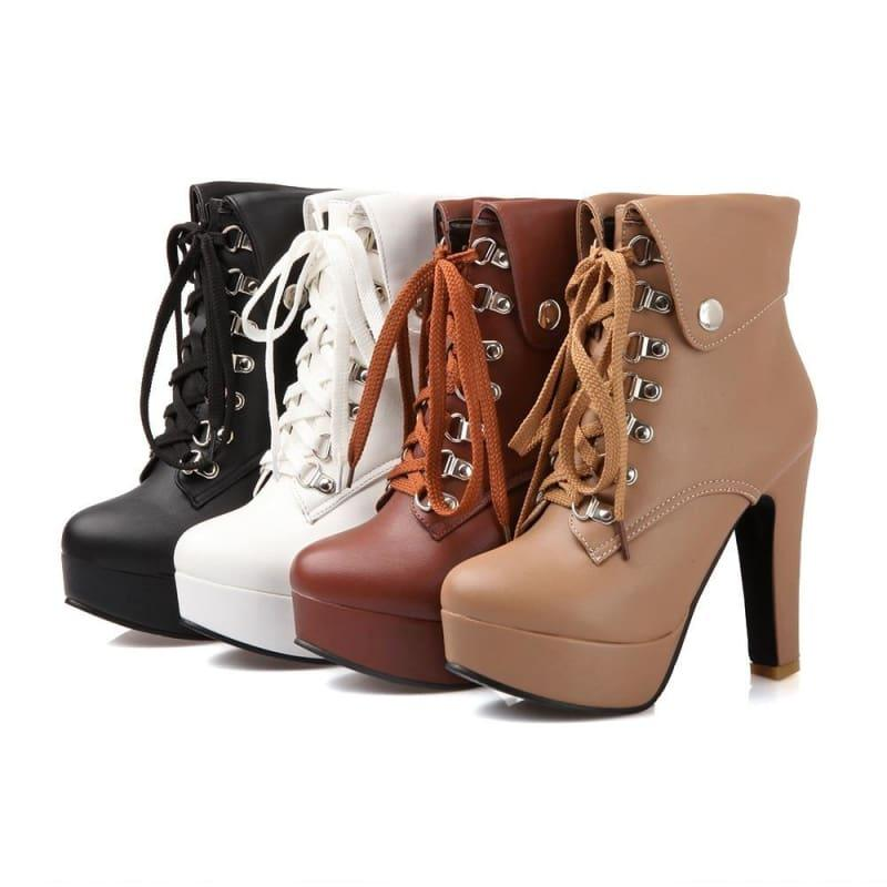 Lace-up Ankle High Heels Motorcycle Platform Booties - booties