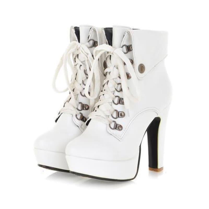 Lace-up Ankle High Heels Motorcycle Platform Booties - TeresaCollections