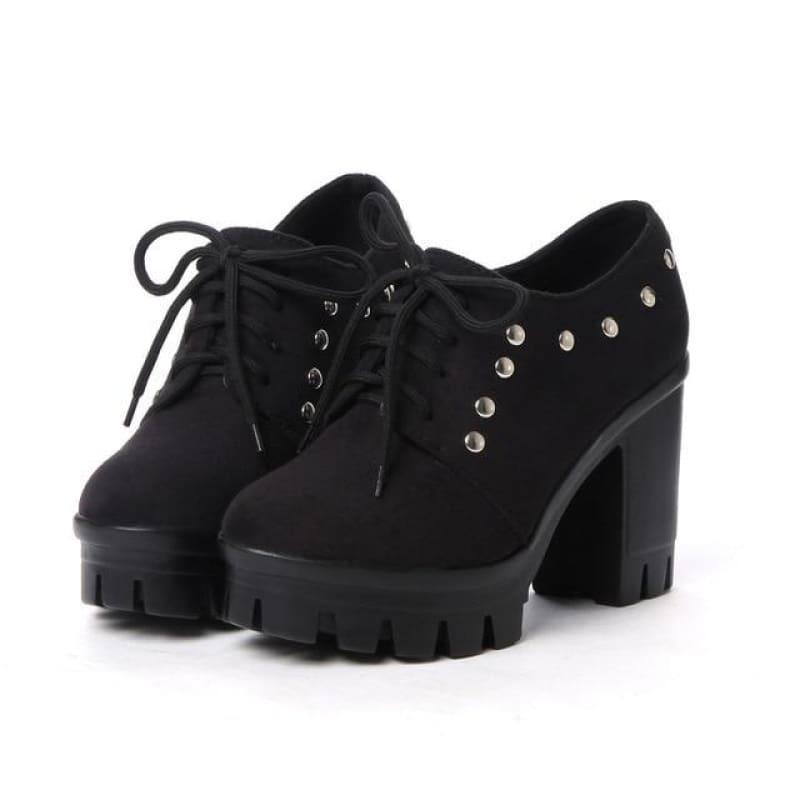 Lace-up Platform Classic Rivet Oxford Ladies Pump - TeresaCollections