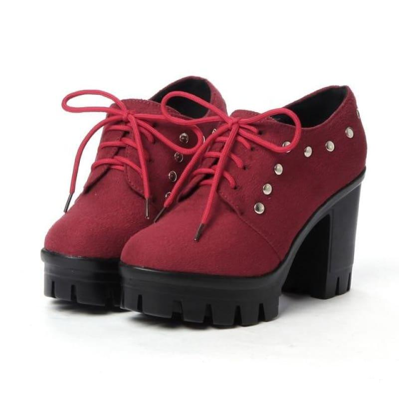 Lace-up Platform Classic Rivet Oxford Ladies Pump - Red / 6 - Pumps