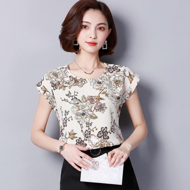 Leaf Floral Prints Chiffon Summer Floral Print Short Sleeve Blouse - Sleeveless