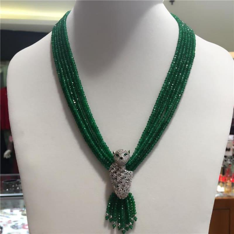 Leopard Head Clasp Green Jade Gemstone Multi Layer Necklace - Handmade