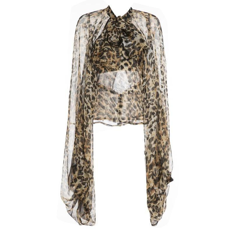 Leopard Lace Up Bow Lantern Sleeve Oversize Blouse - TeresaCollections
