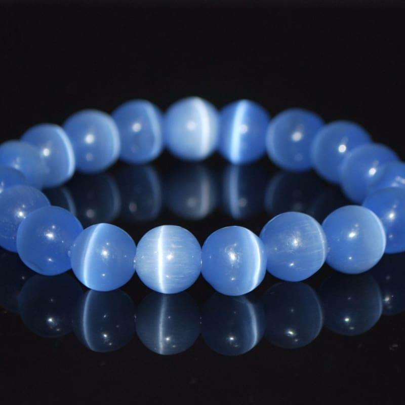 Light Blue Mexican Opal Tiger Eye Gemstone Unisex / Mens Bracelets - Handmade