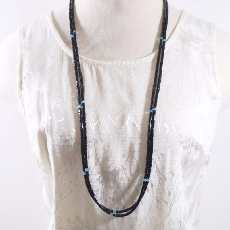 Long Black Two Strands With Blue Ascent Elegant Womens Necklace - Handmade