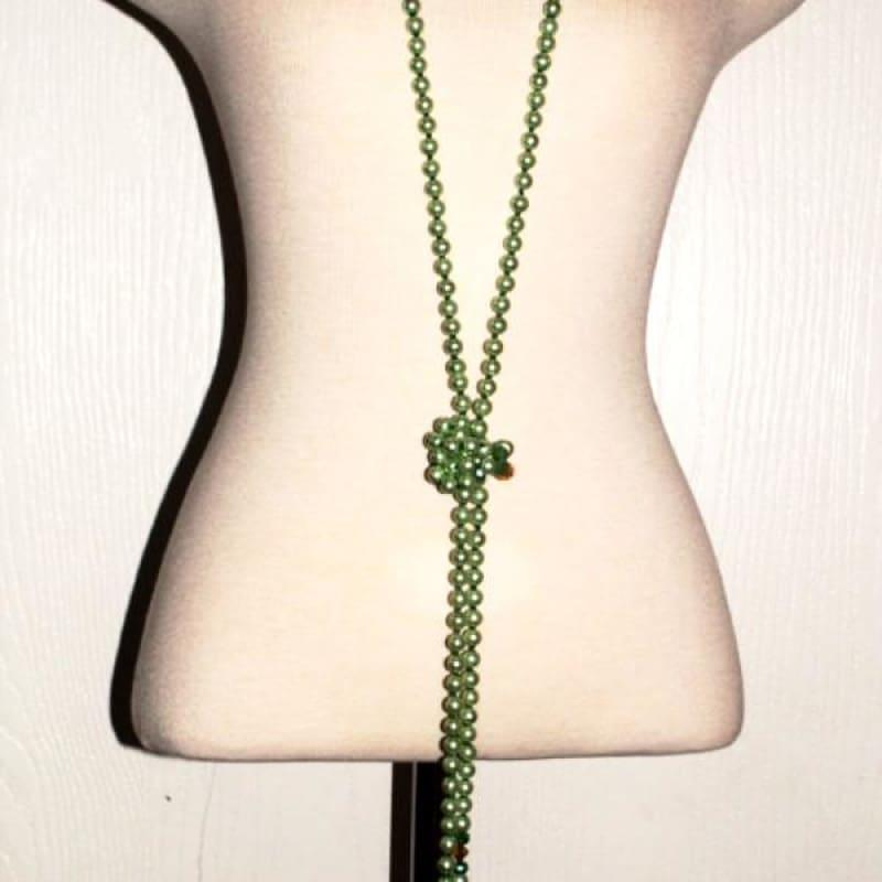 Long Green Glass Pearls with A Splash of Gold Necklace - Handmade
