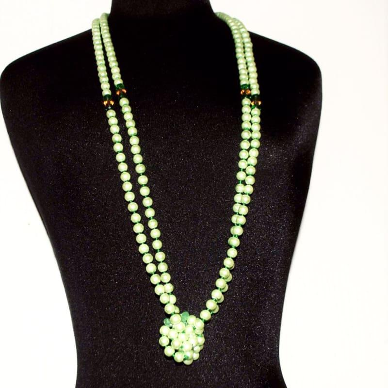 Long Green Glass Pearls with A Splash of Gold Necklace - TeresaCollections