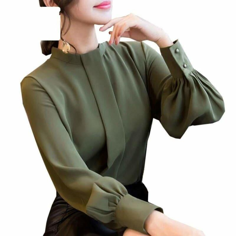 Long Sleeve Shirts Casual Chiffon Work Wear Office Blouse - Army Green / L - Long Sleeve