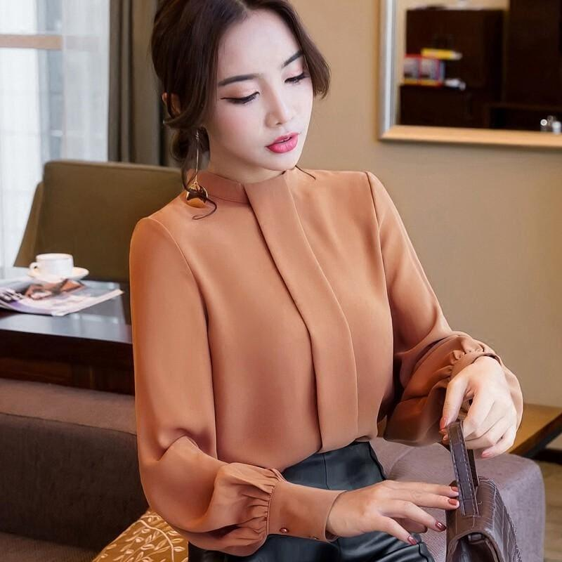 Long Sleeve Shirts Casual Chiffon Work Wear Office Blouse - TeresaCollections