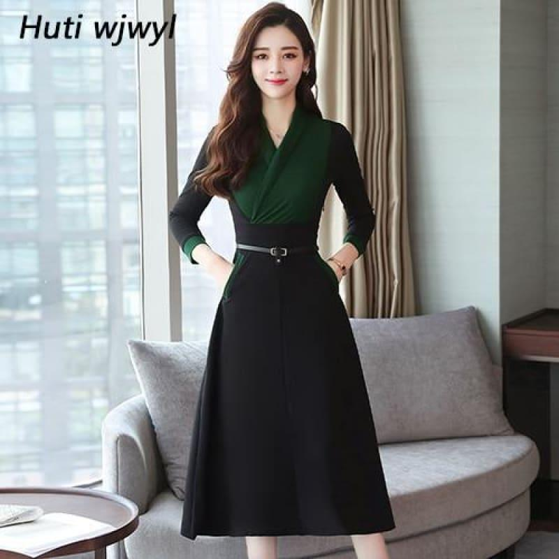 Long Sleeve Vintage Chiffon Elegant Midi Dress - Green / M - midi dress
