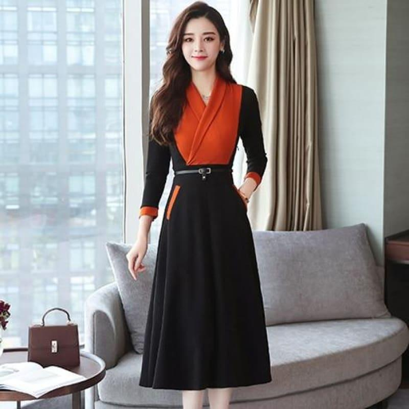 Long Sleeve Vintage Chiffon Elegant Midi Dress - Orange / M - midi dress