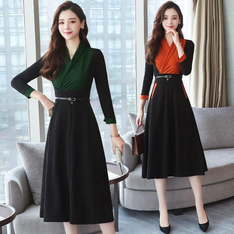 Long Sleeve Vintage Chiffon Elegant Midi Dress - midi dress
