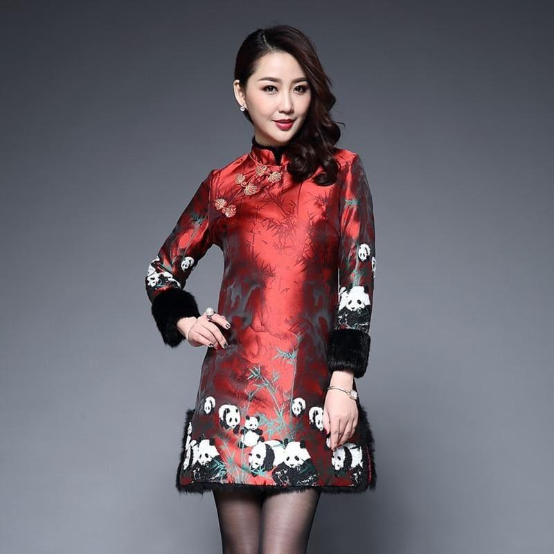 Teresacollections Long Sleeve Winter Qipao Satin