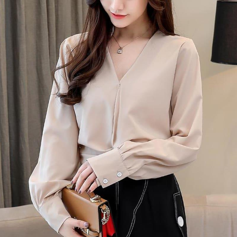Long Sleeve Women Chiffon Blouse - TeresaCollections