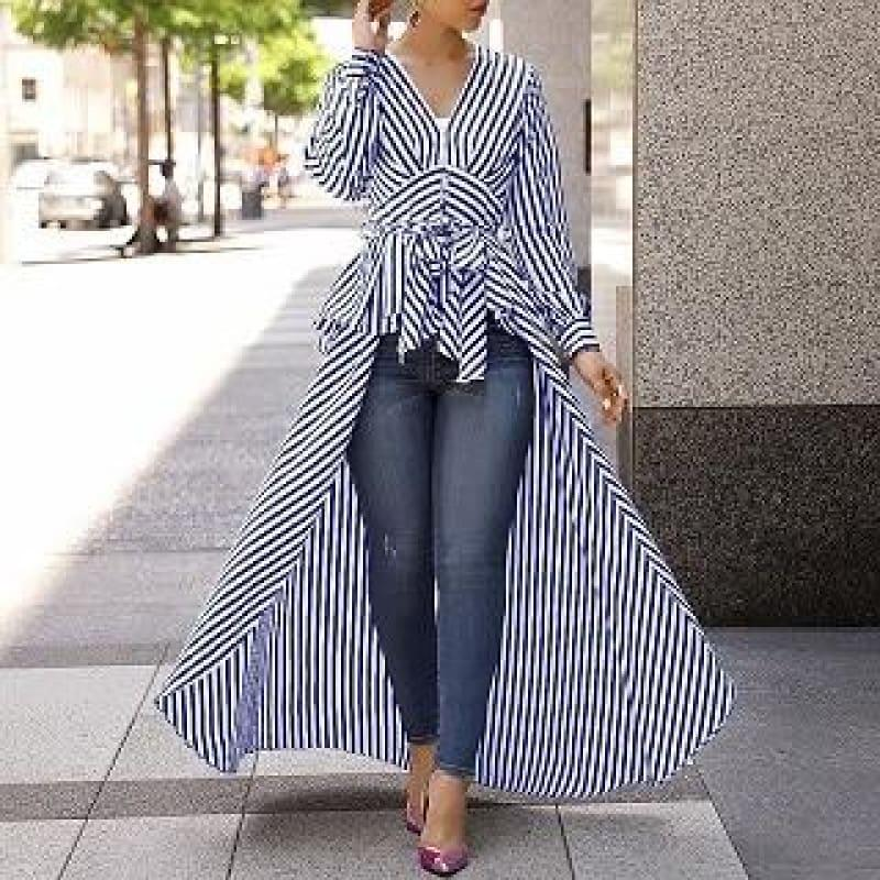 Long Tail V-Neck Top Striped Tie Waist Dip Hem Irregular Blouse - Blue / L - Long Sleeve