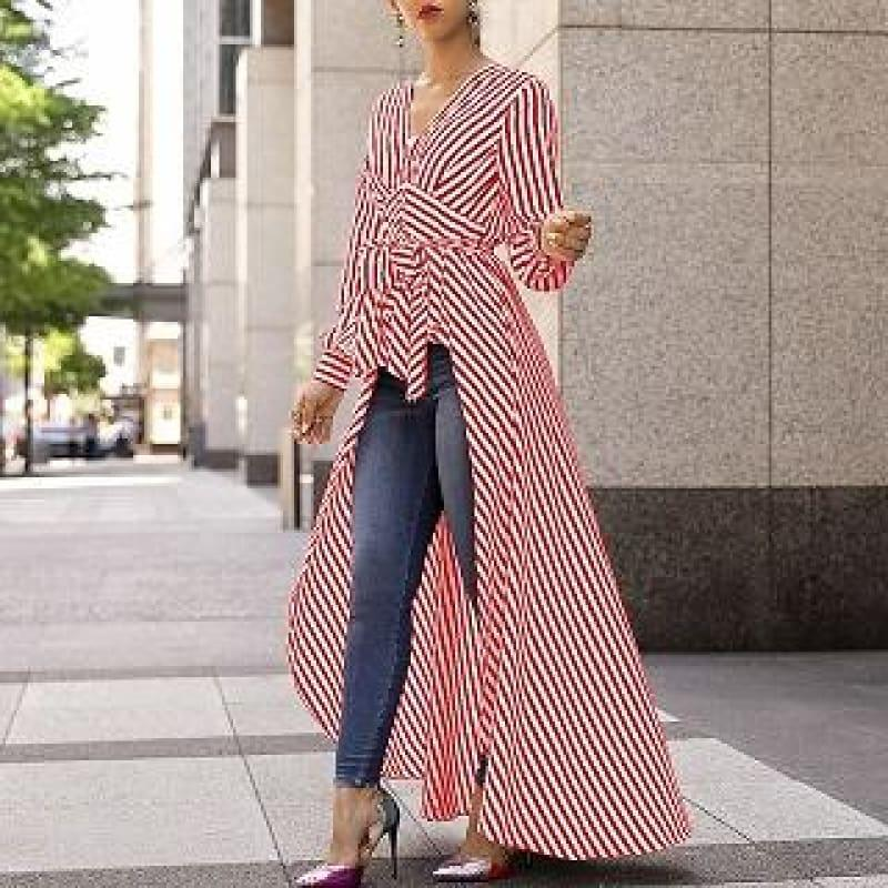 Long Tail V-Neck Top Striped Tie Waist Dip Hem Irregular Blouse - Red / L - Long Sleeve