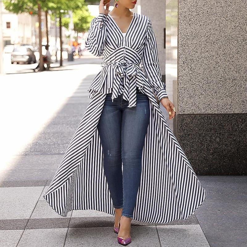 Long Tail V-Neck Top Striped Tie Waist Dip Hem Irregular Blouse - Long Sleeve