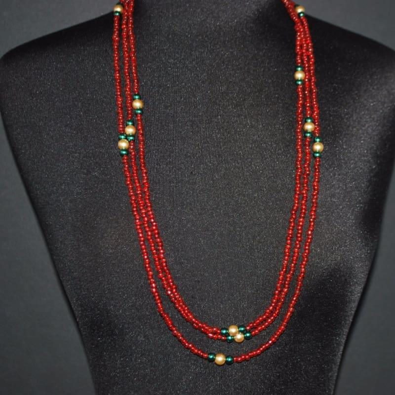 Long Three Strands Red With Green Ascent Necklace - Handmade