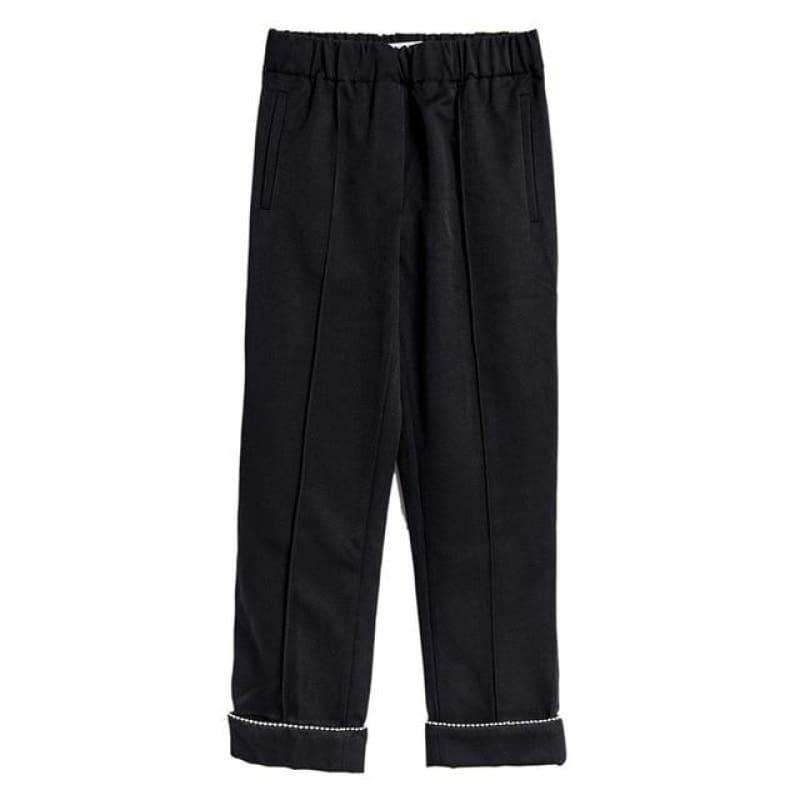Loose High Waist Ankle Length Trousers - black / L - Pants
