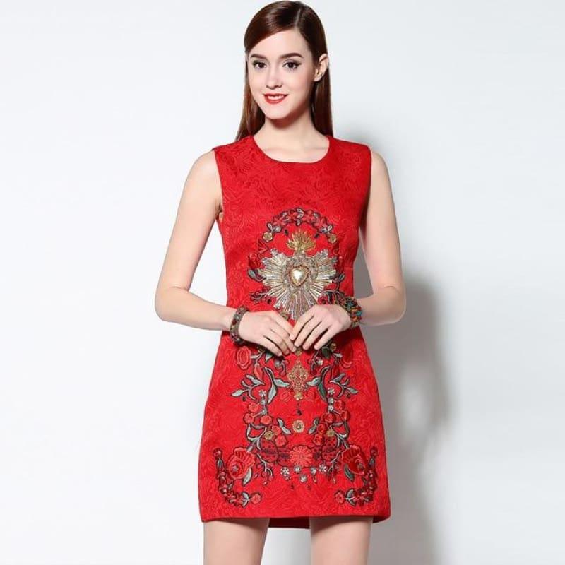 Luxurious Spring High Quality Three-dimensional Beading Embroidered Sleeveless Red Cotton Tank Mini Dress - Red / S - Mini Dress