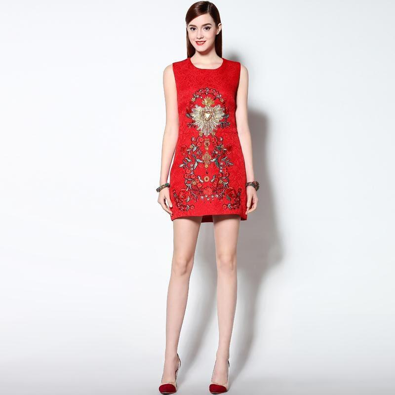 Luxurious Spring High Quality Three-dimensional Beading Embroidered Sleeveless Red Cotton Tank Mini Dress - Mini Dress