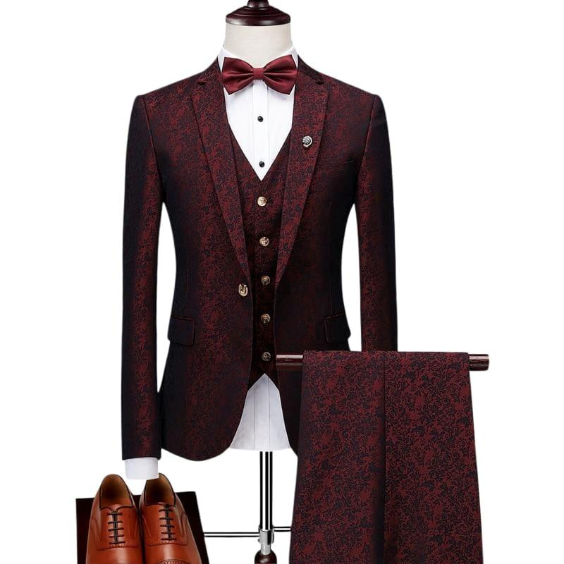 Luxury Blue and Burgundy Floral Three Piece Mens - Mens Suits