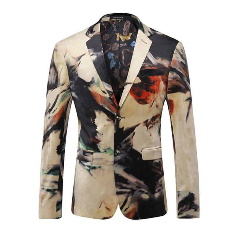 Luxury Designer Colorful Italian Stylish Blazer Jacket - Colorful / L - Mens Jackets