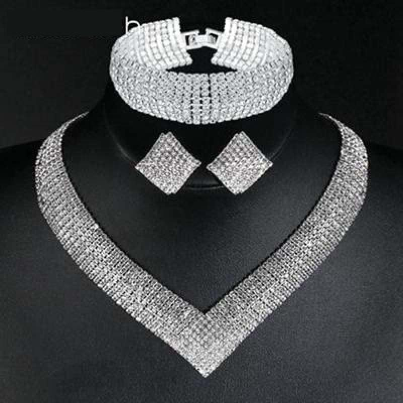 Luxury Geometric Crystal Clear Rhinestone Bridal Women Jewelry Set - jewlery set