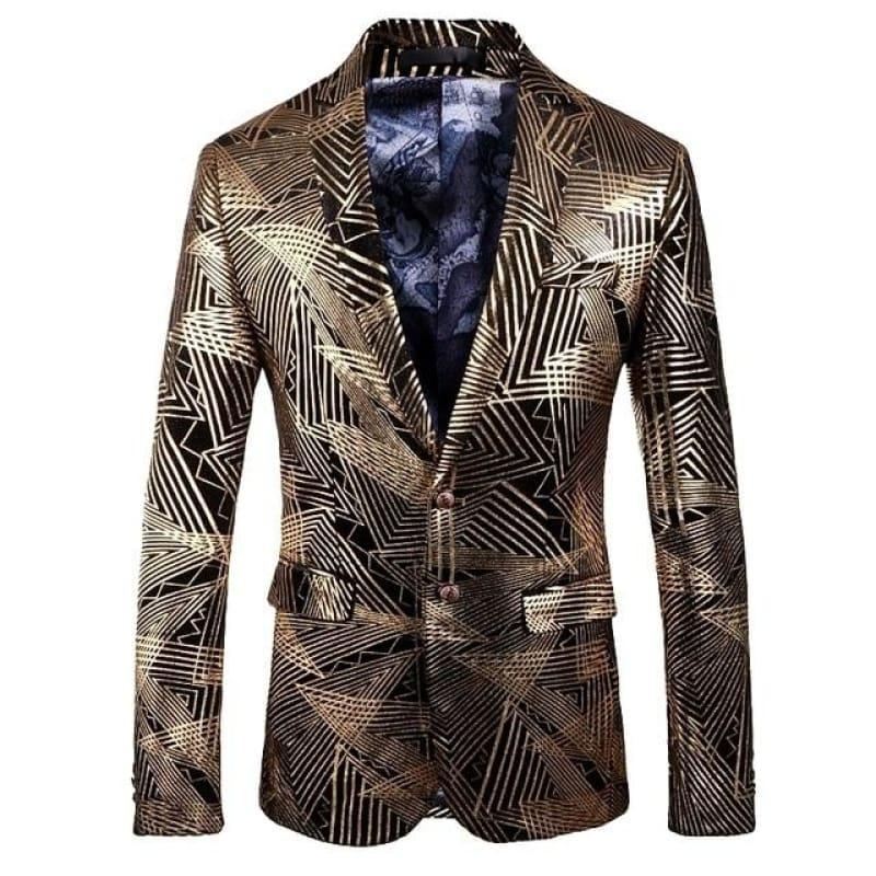 Luxury Gold Stripes Print Blazer Men Blazer - As picture / M - mens blazer