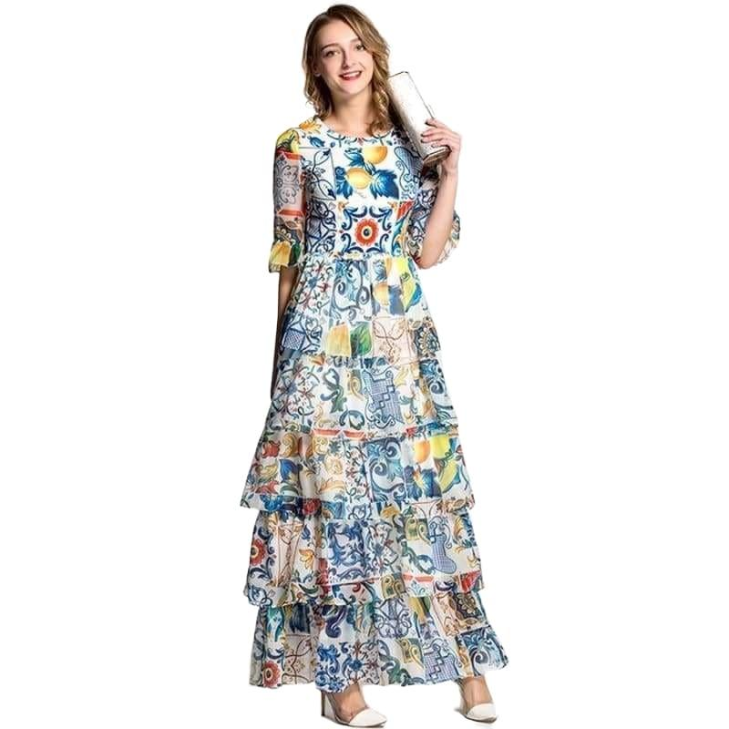 Luxury Half Flare Sleeve Fashion Patchwork Print Porcelain Romantic Sexy Maxi Dress - Multi / S - Maxi Dress