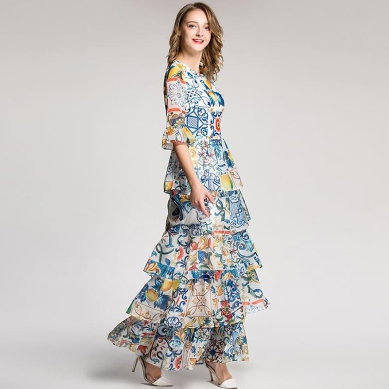 Luxury Half Flare Sleeve Fashion Patchwork Print Porcelain Romantic Sexy Maxi Dress - Maxi Dress