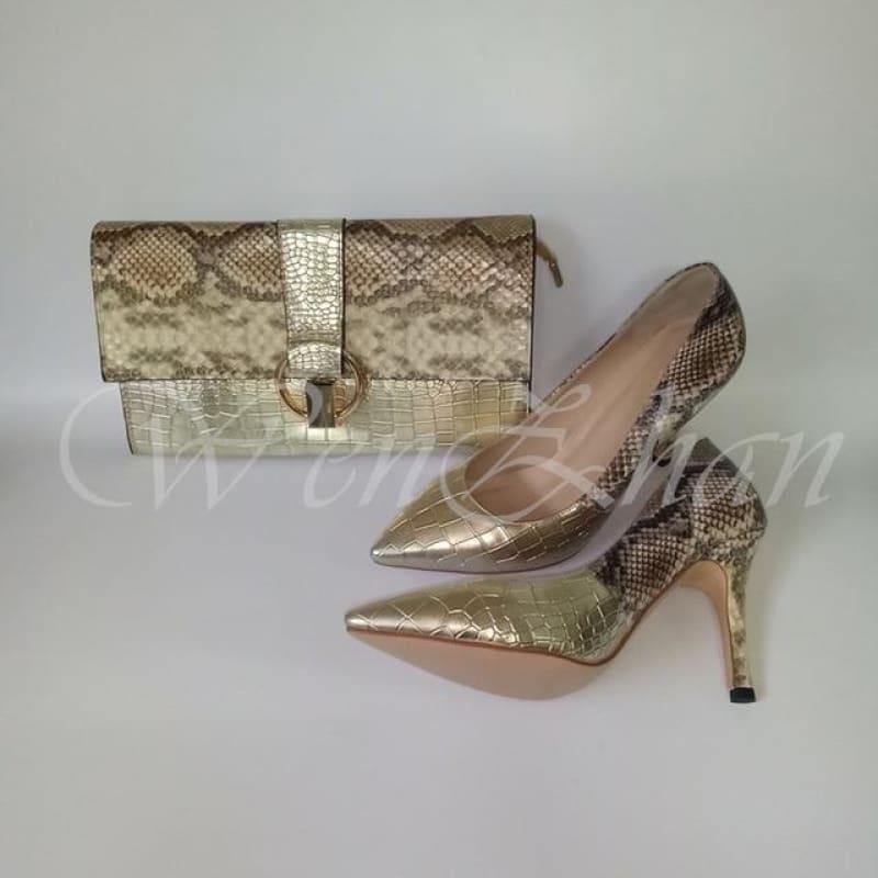 25d5cd4e4f Luxury Lady Shoes Fashion Snake Leather High Heels Party Matching Clutch  Handbag And Pumps Sets -
