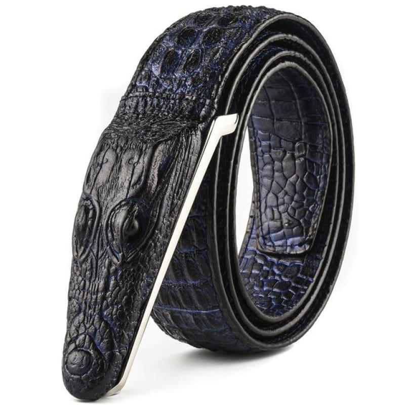 Luxury Leather Designer High Quality Crocodile Men Belt - Blue / 105cm - belts