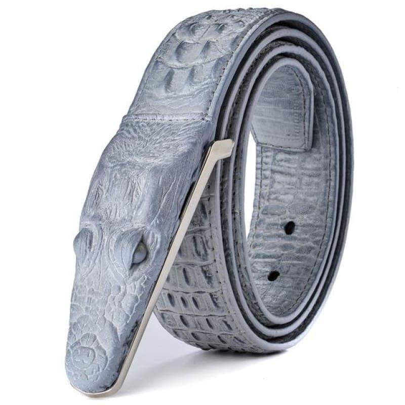 Luxury Leather Designer High Quality Crocodile Men Belt - Gray / 105cm - belts