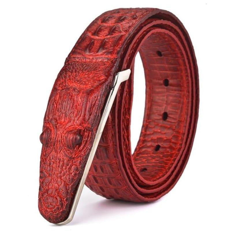 Luxury Leather Designer High Quality Crocodile Men Belt - Red / 105cm - belts