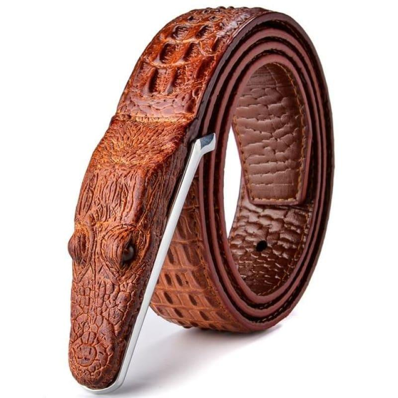 Luxury Leather Designer High Quality Crocodile Men Belt - Red Brown / 105cm - belts