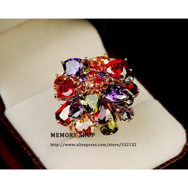 Luxury Multi Color AAA Cubic Zirconia Crystal Big Flower Chunky Ring - TeresaCollections
