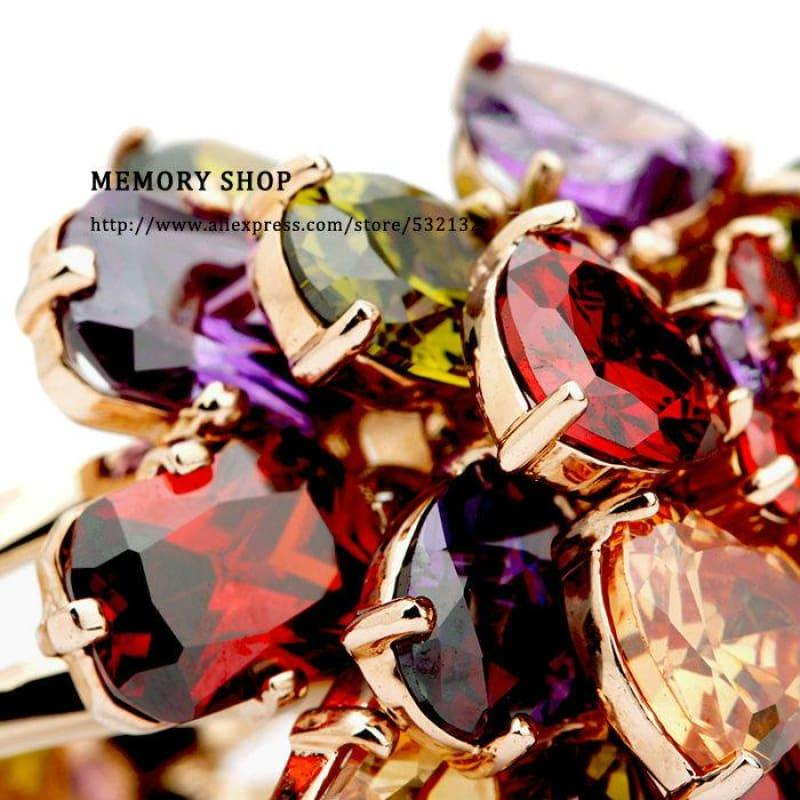 Luxury Multi Color AAA Cubic Zirconia Crystal Big Flower Chunky Ring - Ring