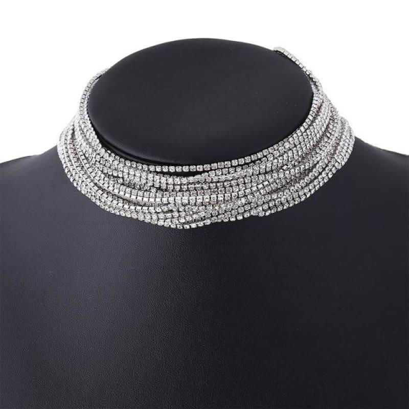 Luxury Rhinestone Choker Crystal Multilayer Wedding Choker - silver