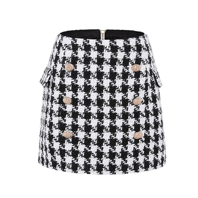 Metal Lion Buttons Embellished Houndstooth Tweed Mini Skirt - TeresaCollections