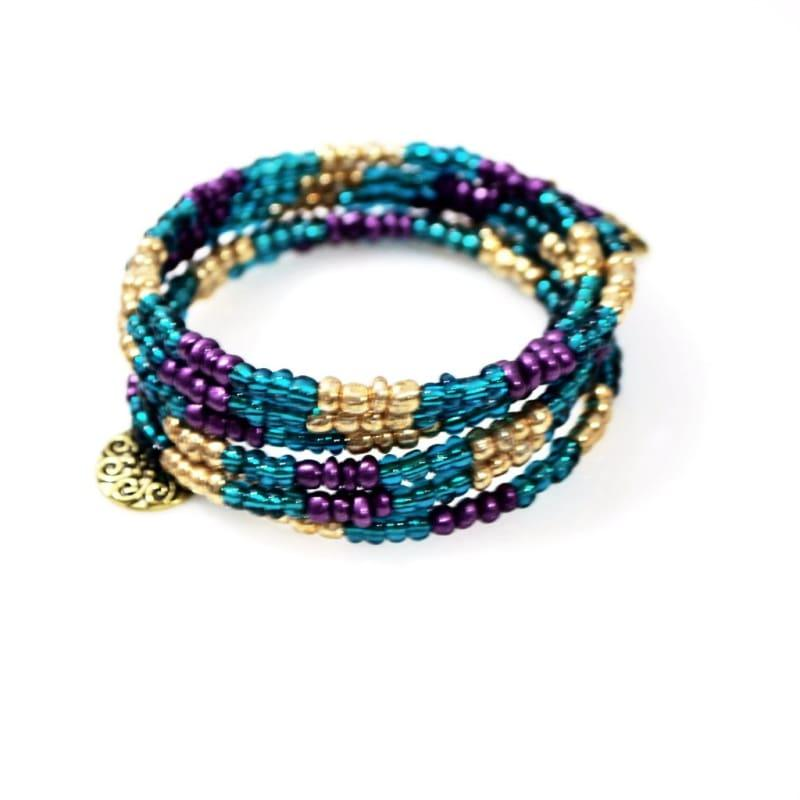Metallic Turquoise With Charms Wrap Around Bracelets - TeresaCollections