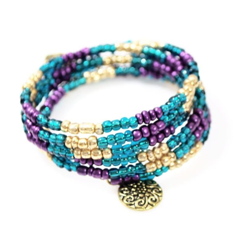 Metallic Turquoise With Charms Wrap Around Bracelets - Handmade