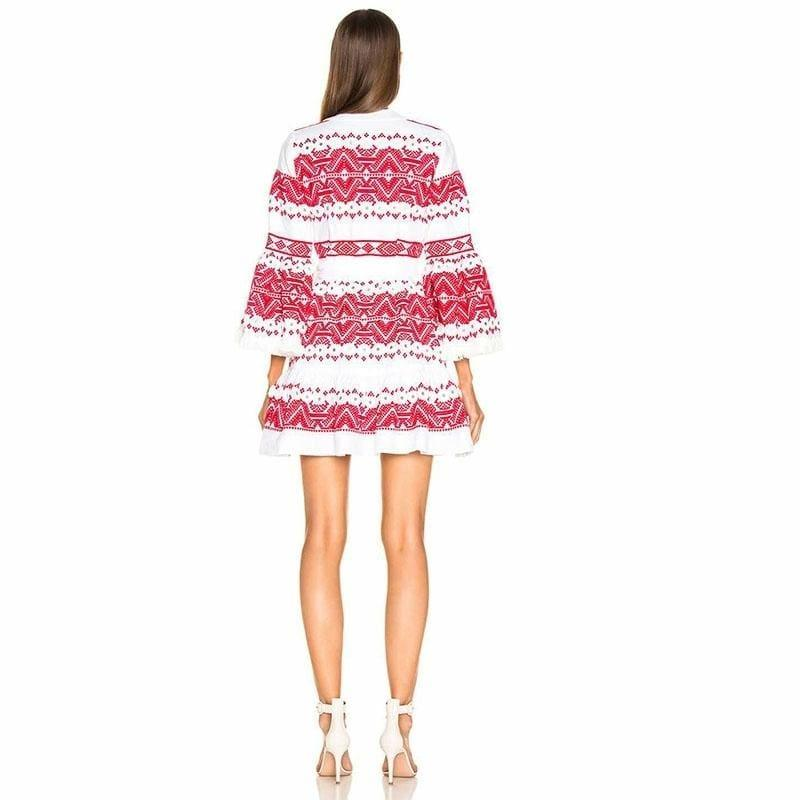 Mini Wrap Lace Patchwork Casual V Neck Long Sleeve High Waist Sexy Mini Dress - mini dress