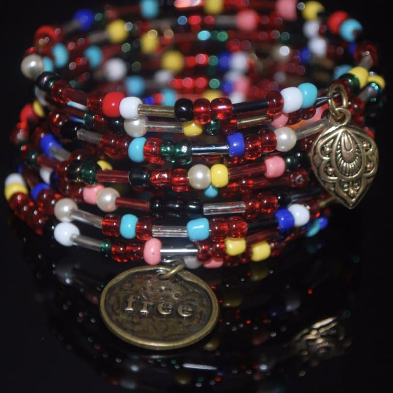 Mixed Colors Seed Bead Memory Wire bracelets - Handmade