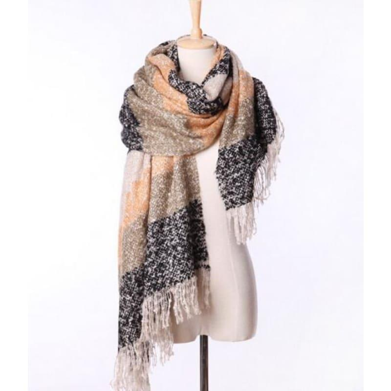 Mohair Warm Fashion Scarf - Black - Scarf