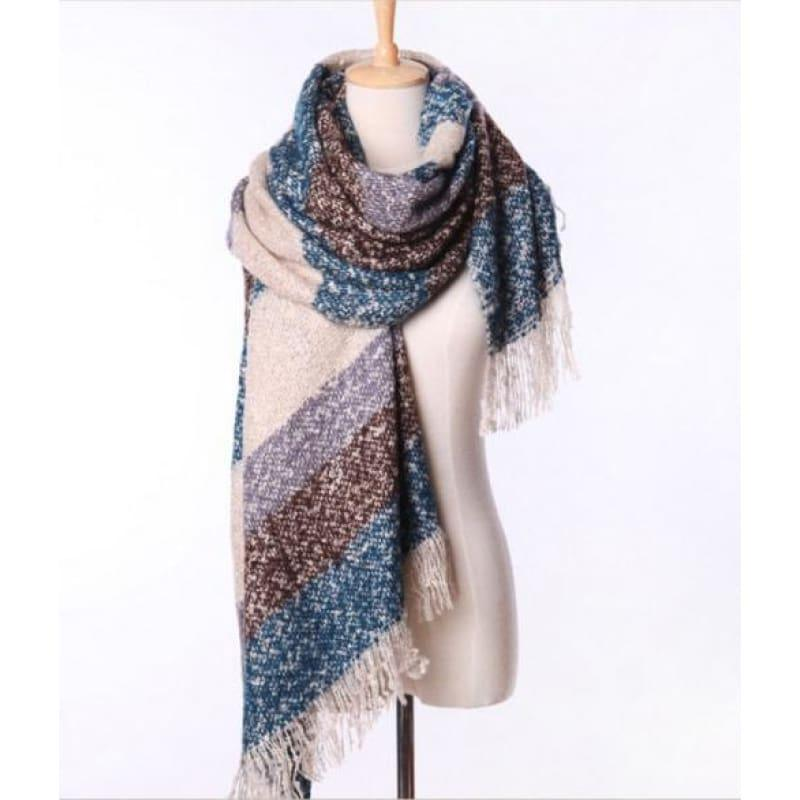 Mohair Warm Fashion Scarf - Blue - Scarf