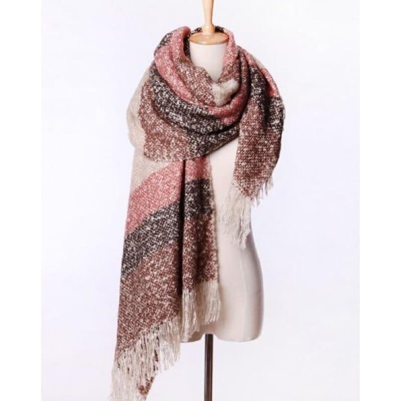 Mohair Warm Fashion Scarf - Coffee - Scarf