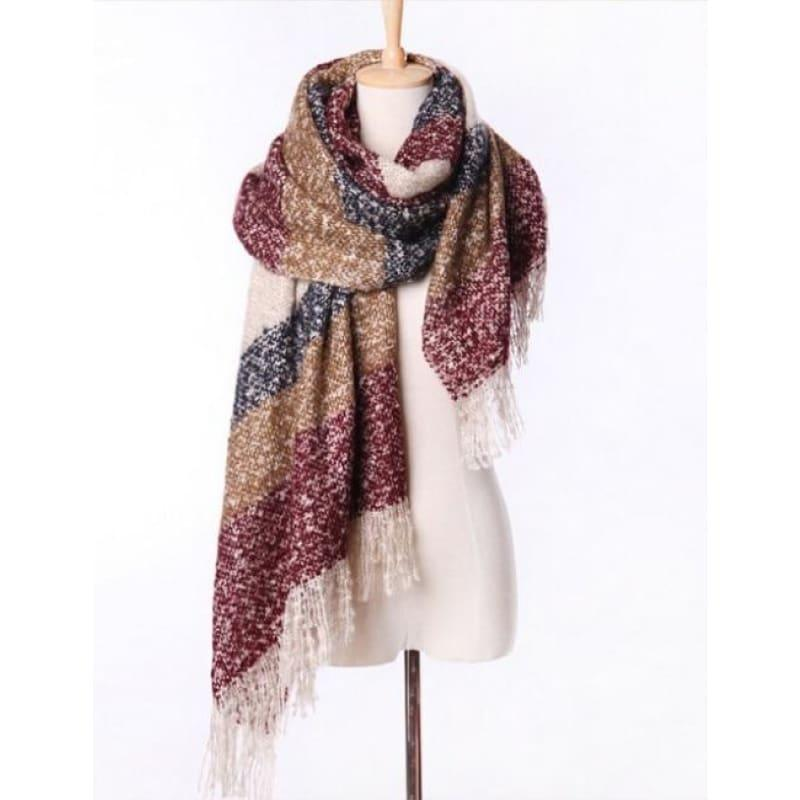 Mohair Warm Fashion Scarf - Wine - Scarf