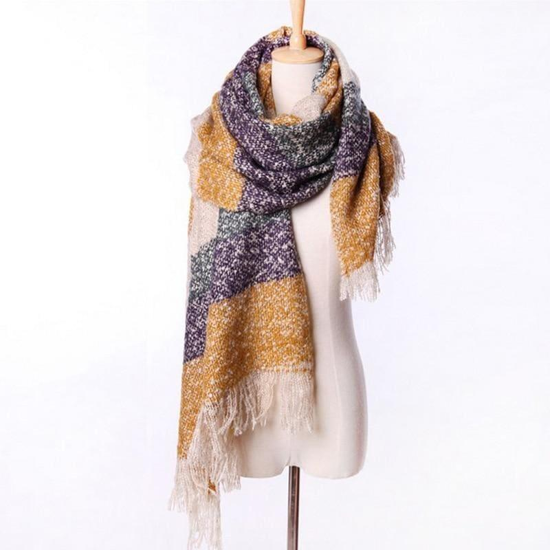 Mohair Warm Fashion Scarf - Yellow - Scarf